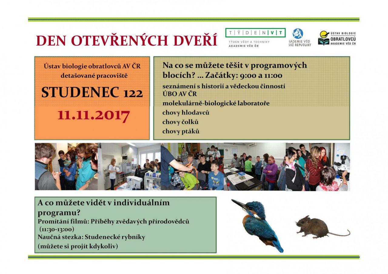 Den otevřených dveří - Ústav biologie obratlovců AV ČR, detašované pracoviště Studenec 1