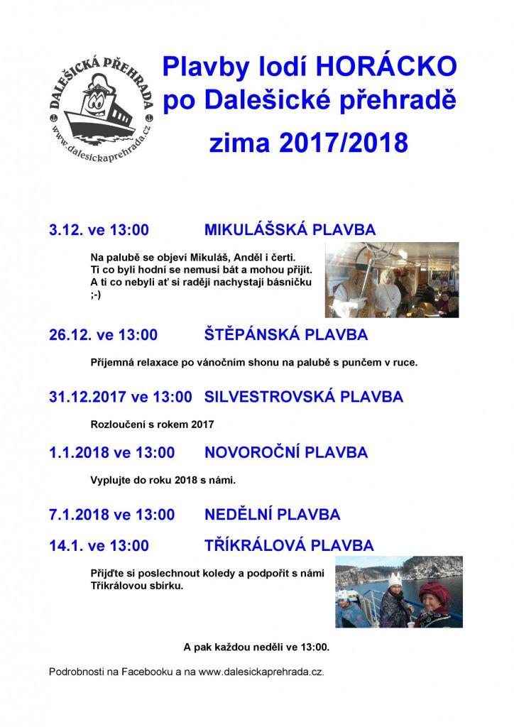 Plavby lodí Horácko po Dalešické přehradě zima 2017/2018 1