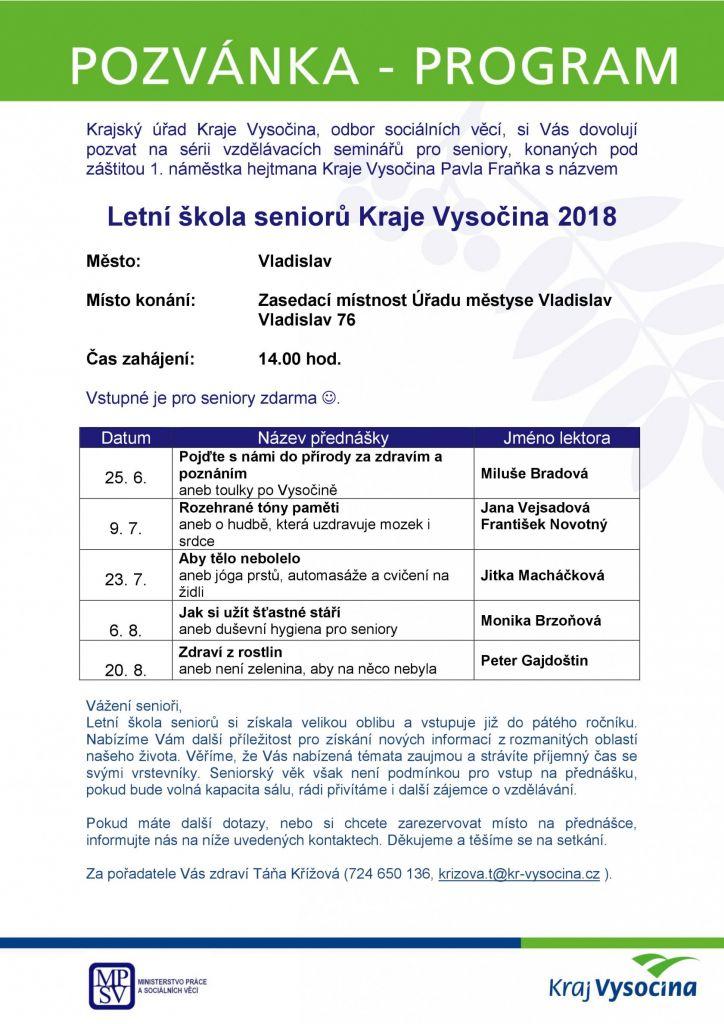 Letní škola seniorů, městys Vladislav 1