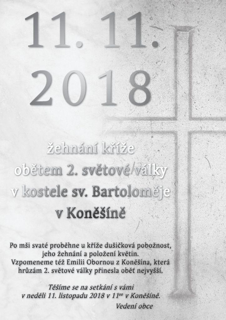 Žehnání kříže obětem 2. sv. války v Koněšíně 1